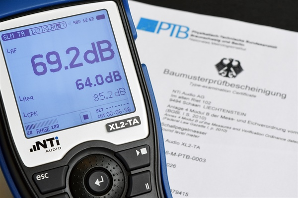 New PTB Certificate for XL2-TA Sound Level Meter