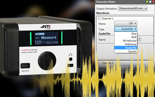 Playback of audio files on the FX100 Generator